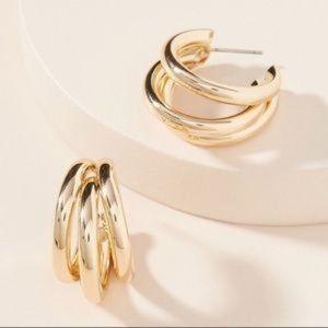 NEW~ Anthropologie Lauryn Gold Hoop Earrings